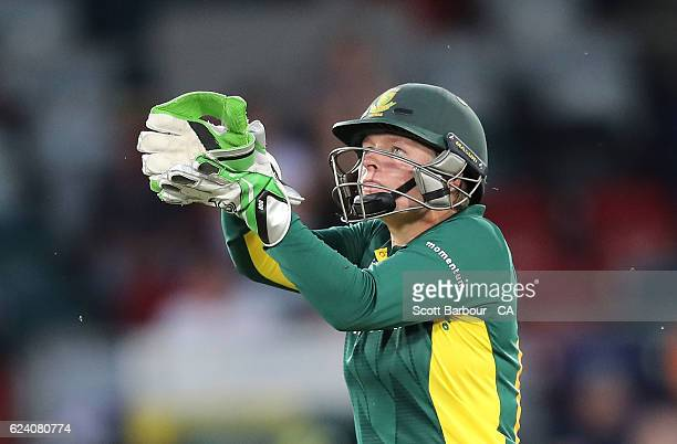 Lizelle Lee of South Africa wicketkeeps during the women's one day international match between the Australian Southern Stars and South Africa at...