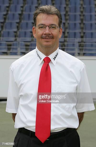 Lizenzspielerleiter Rainer Falkenhain poses during the Bundesliga 1st Team Presentation of Eintracht Frankfurt at the Commerzbank Arena on July 14...