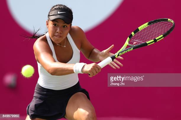 Lizette Cabrera of Australia returns a shot during the match against Anett Kontaveit of Estonia on Day 3 of WTA Guangzhou Open on September 20 2017...
