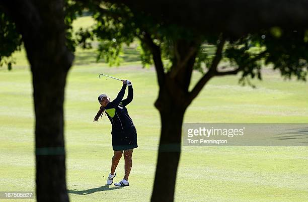 Lizette Salas hits a shot during the first round of the 2013 North Texas LGPA Shootout at the Las Colinas Country Club on April 25 2013 in Irving...