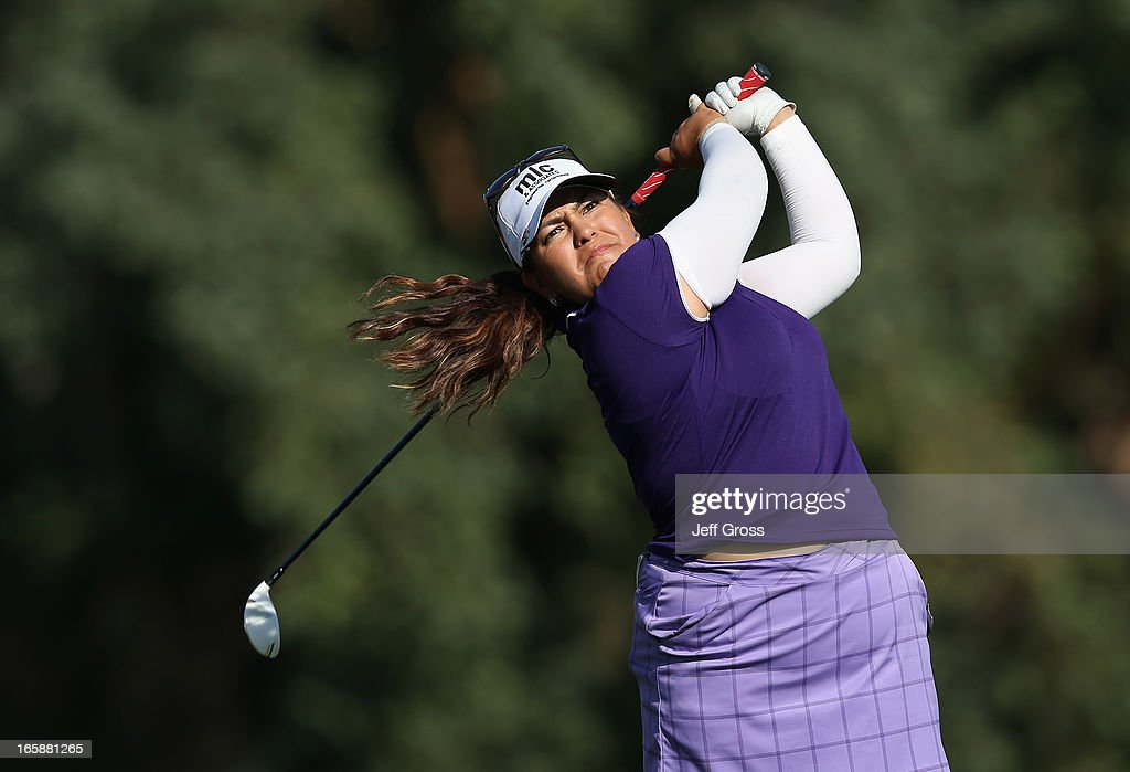 Lizette Salas hits her tee shot on the 16th hole during the third round of the Kraft Nabisco Championship at Mission Hills Country Club on April 6, 2013 in Rancho Mirage, California.