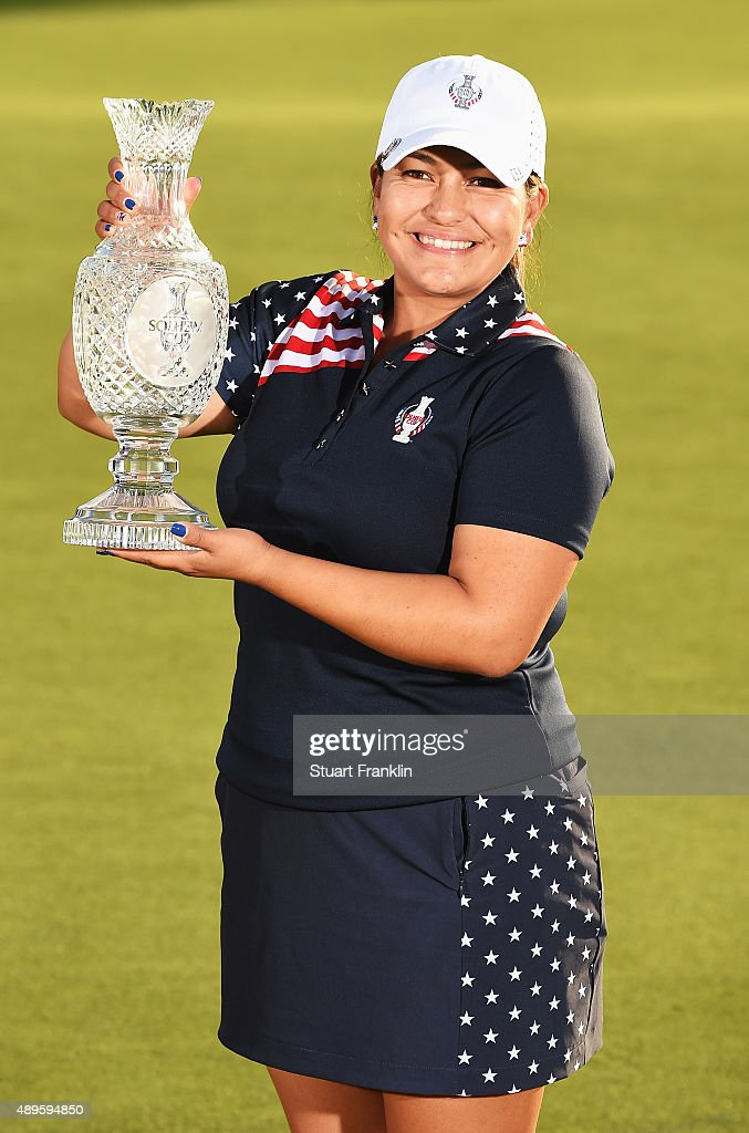 <a gi-track='captionPersonalityLinkClicked' href=/galleries/search?phrase=Lizette+Salas&family=editorial&specificpeople=7883974 ng-click='$event.stopPropagation()'>Lizette Salas</a> of team USA holds the Solheim Cup trophy after the final day of The Solheim Cup at St Leon-Rot Golf Club on September 20, 2015 in St Leon-Rot, Germany.
