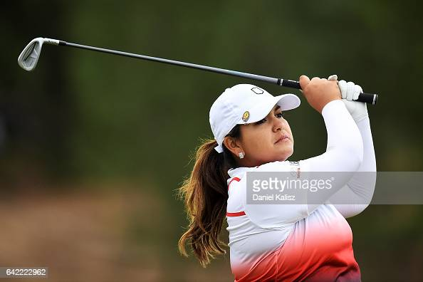 Lizette Salas of the United States plays a shot during round two of the ISPS Handa Women's Australian Open at Royal Adelaide Golf Club on February 17...