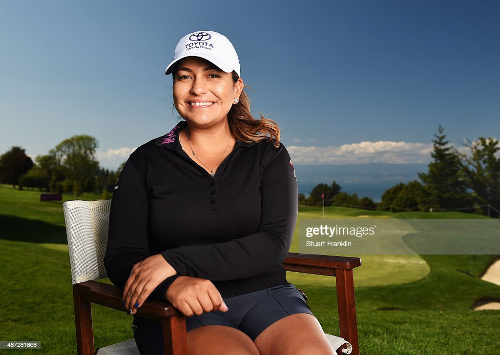 <a gi-track='captionPersonalityLinkClicked' href=/galleries/search?phrase=Lizette+Salas&family=editorial&specificpeople=7883974 ng-click='$event.stopPropagation()'>Lizette Salas</a> of USA poses for a picture during practice prior to the start of the Evian Championship Golf on September 8, 2015 in Evian-les-Bains, France.