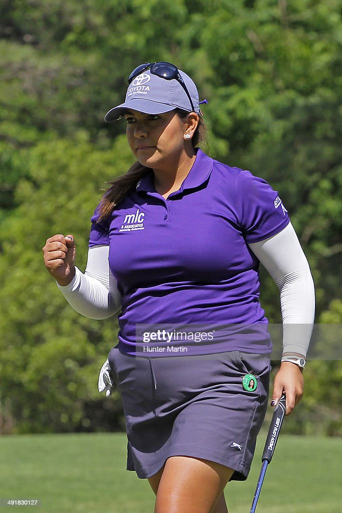 <a gi-track='captionPersonalityLinkClicked' href=/galleries/search?phrase=Lizette+Salas&family=editorial&specificpeople=7883974 ng-click='$event.stopPropagation()'>Lizette Salas</a> reacts after making her birdie putt on the sixth hole during the third round of the Kingsmill Championship presented by JTBC on the River Course at Kingsmill Resort on May 17, 2014 in Williamsburg, Virginia.