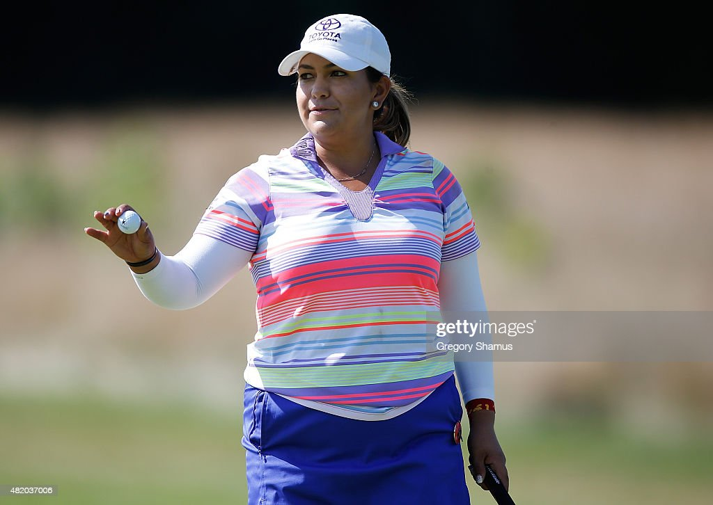 <a gi-track='captionPersonalityLinkClicked' href=/galleries/search?phrase=Lizette+Salas&family=editorial&specificpeople=7883974 ng-click='$event.stopPropagation()'>Lizette Salas</a> waves to fans after making a par on the first green during the final round of the Meijer LPGA Classic presented by Kraft at Blythefield Country Club on July 26, 2015 in Grand Rapids, Michigan.