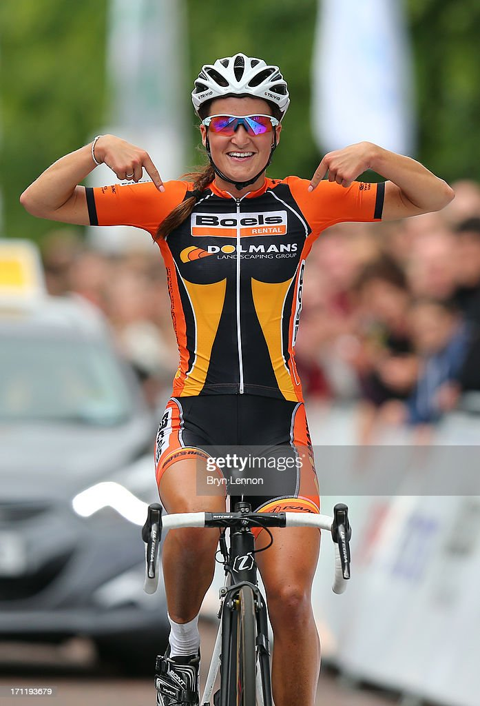 Lizzie armitstead of boels dolmans cycling team celebrates winning the