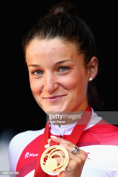 Lizzie Armitstead of England celebrates with her gold medal after the Women's Cycling Road Race during day eleven of the Glasgow 2014 Commonwealth...