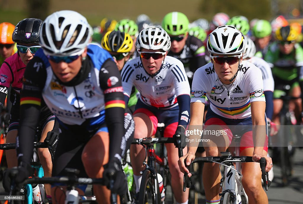 <a gi-track='captionPersonalityLinkClicked' href=/galleries/search?phrase=Lizzie+Armitstead&family=editorial&specificpeople=5588567 ng-click='$event.stopPropagation()'>Lizzie Armitstead</a> (R) of the Great Britain National Team competes during the women's race in the second stage of the 2016 Tour de Yorkshire between Otley and Doncaster on April 30, 2016 in Doncaster, England.
