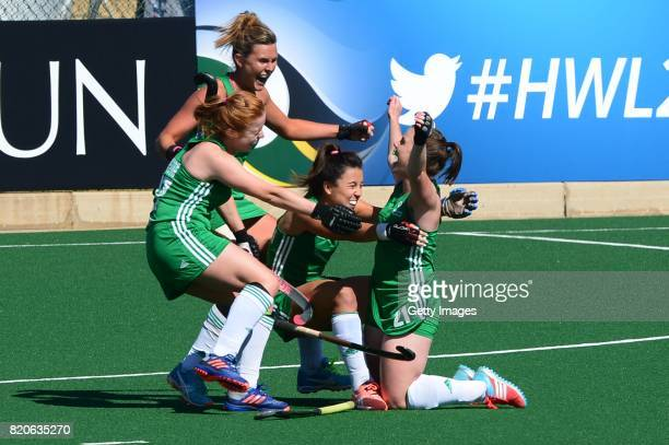 Lizzie Colvin of Ireland celebrate with her team mates during day 8 of the FIH Hockey World League Women's Semi Finals 7th8th place match between...