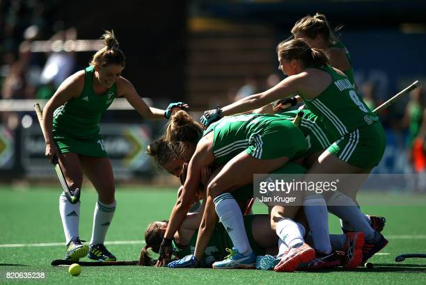 Lizzie Colvin of Ireland celebrates her goal and the winning goal with team mates during day 8 of the FIH Hockey World League Women's Semi Finals...