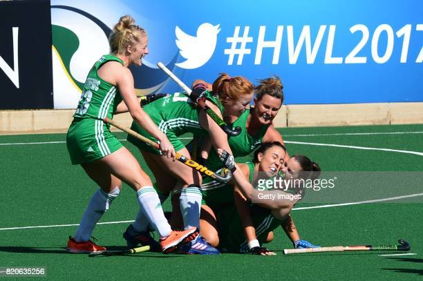 Lizzie Colvin of Ireland celebrates with her team mates during day 8 of the FIH Hockey World League Women's Semi Finals 7th8th place match between...