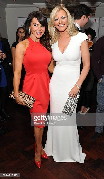 Lizzie Cundy and Michelle Mone attend the launch of new book 'My Fight To The Top' by Ultimo founder Michelle Mone at Salmontini on March 12 2015 in...