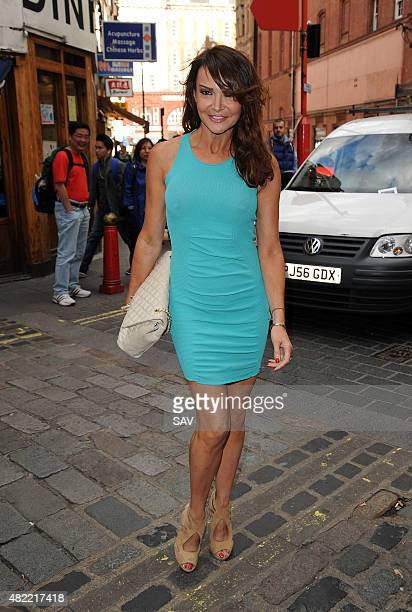 Lizzie Cundy arrives at The Ego Professional Macmillan Cancer Party on July 28 2015 in London England
