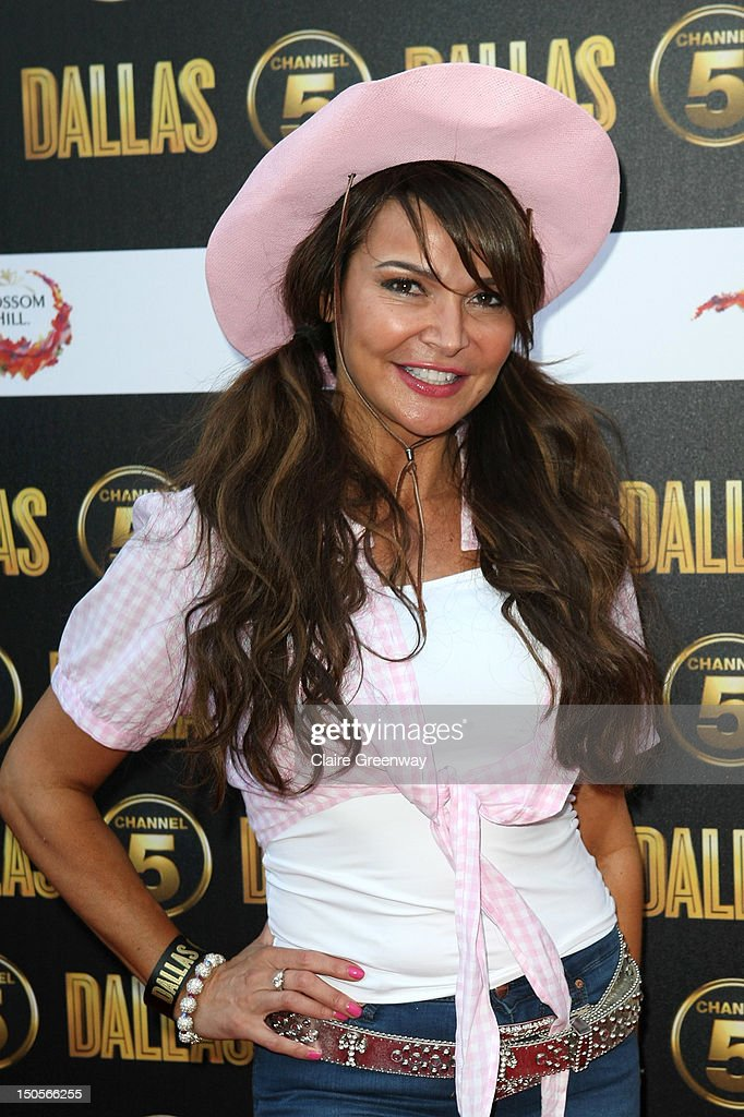 Lizzie Cundy arrives at the launch party for the new Channel 5 television series of 'Dallas' at Old Billingsgate on August 21, 2012 in London, England.