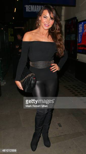 Lizzie Cundy attending Jersey Boys the musical at the Picadilly theatre on March 27 2014 in London England