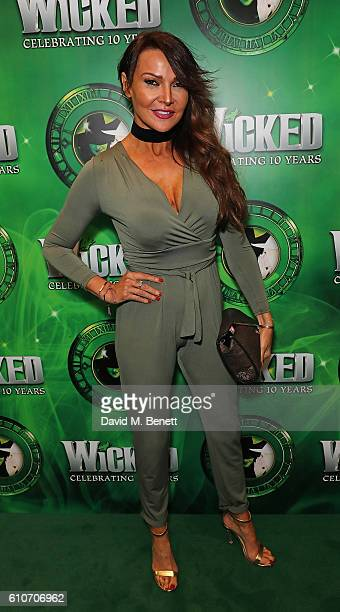 Lizzie Cundy attends the hit musical Wicked celebrating 10 years at The Apollo Victoria Theatre on September 27 2016 in London England