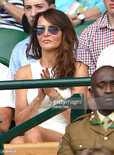 Lizzie Cundy attends the Novak Djokovic v Bernard Tomic match on day five of the annual Wimbledon Tennis Championships at Wimbledon on July 3 2015 in...