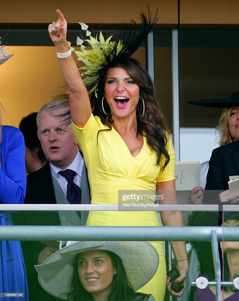 Lizzie Cundy cheers as she watches the racing as she attends day 1 of Royal Ascot at Ascot Racecourse on June 19, 2012 in Ascot, England.