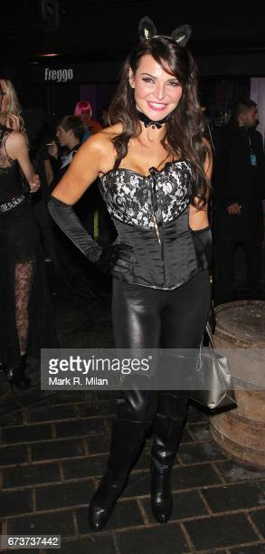 Lizzie Cundy departs Caprice Bourret's 40th birthday and Halloween party at the Cuckoo Club on October 27 2011 in London England