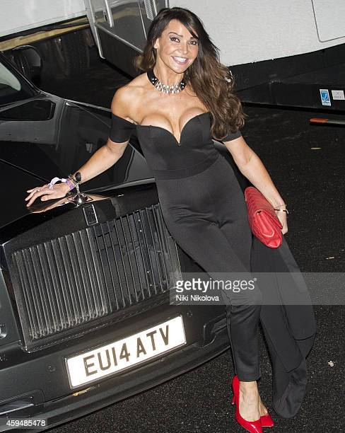 Lizzie Cundy is seen leaving 'The X Factor' held at Fountain Studios Wembley on November 23 2014 in London England