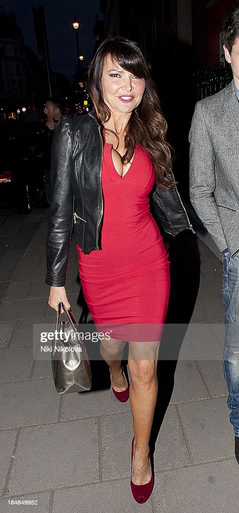 Lizzie Cundy sighting at Claredges hotel on March 28, 2013 in London, England.