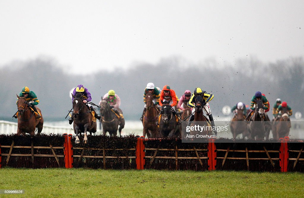 Lizzie Kelly riding Agrapart (2L, purple) clear the last to win The Betfair Hurdle Race at Newbury racecourse on February 13, 2016 in Newbury, England.