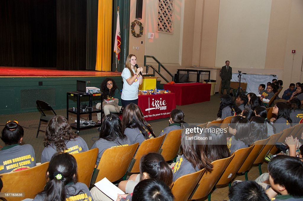 Lizzie Sider helps to get the crowd motivated on her stop to John Burroughs Middle School for her National Bullying Prevention Center's Assembly Tour on November 12, 2013 in Los Angeles, California.