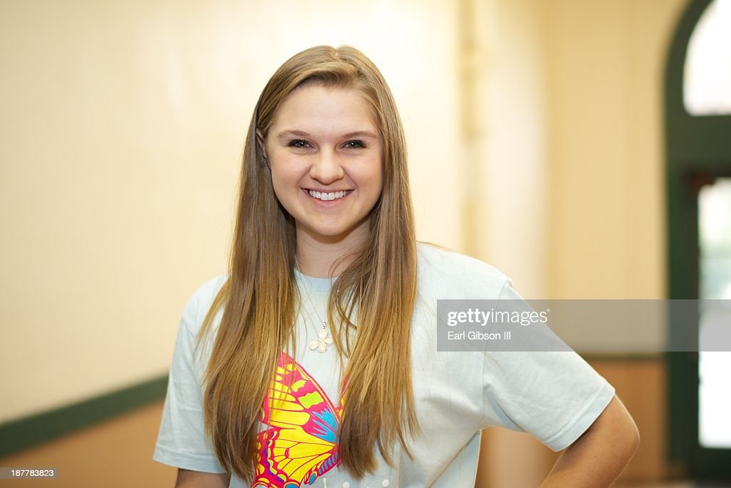 Lizzie Sider poses before starting her National Bullying Campaign on November 12, 2013 in Los Angeles, California.