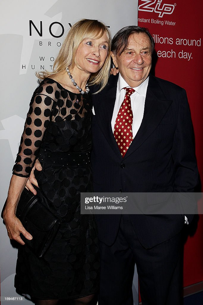 Lizzie Spender and <a gi-track='captionPersonalityLinkClicked' href=/galleries/search?phrase=Barry+Humphries&family=editorial&specificpeople=206650 ng-click='$event.stopPropagation()'>Barry Humphries</a> walk the red carpet at the 2012 Sydney Theatre Awards at the Paddington RSL on January 14, 2013 in Sydney, Australia.