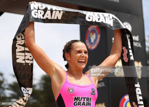 Lizzie Welborn celebrates afetr winning the Round One Enduro during the Nutri Grain IronMan and IronWoman Finals at Cronulla Beach on February 24...