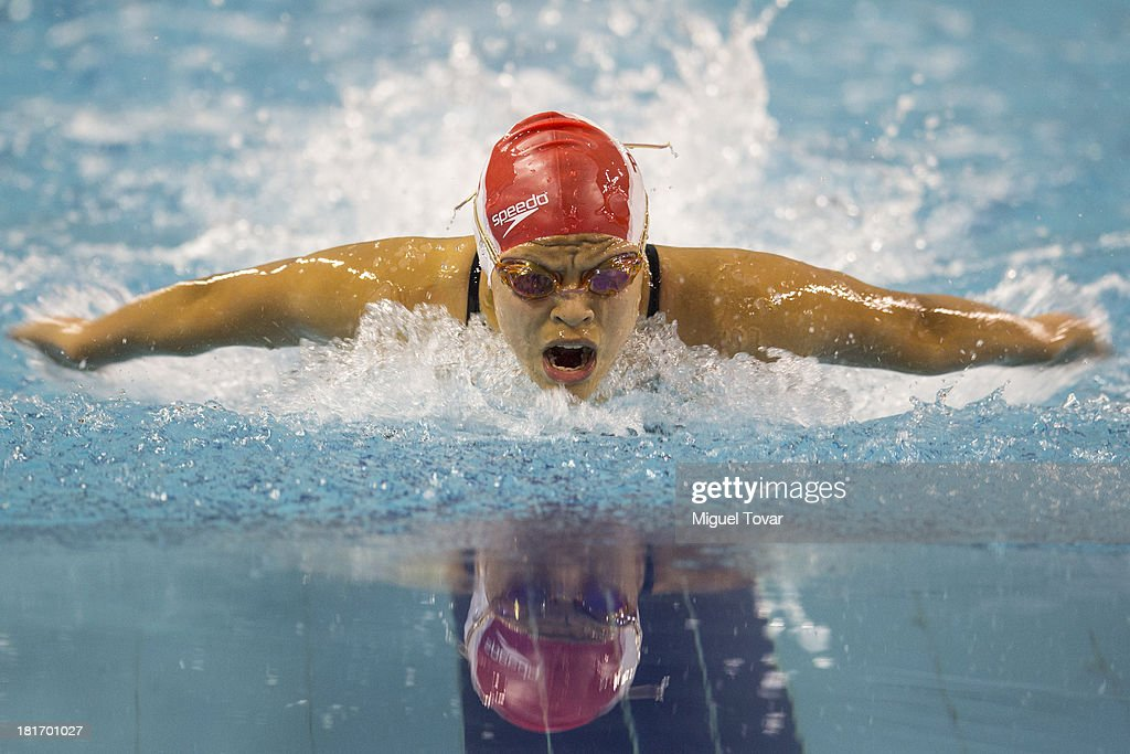 Lizzy Ann Nolasco of Perucompetes in women's 200 meter butterfly as part of the I ODESUR South American Youth Games at Piscina Ol'mpica Campo de Marte on September 23, 2013 in Lima, Peru.