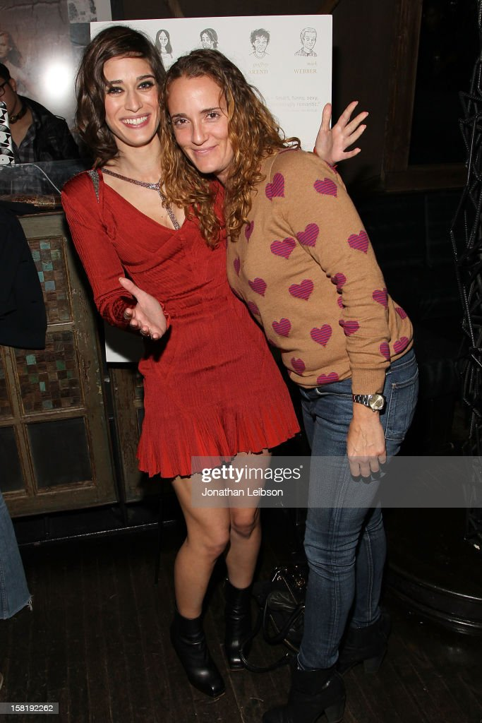 Lizzy Caplan and guest attend the 'Save the Date' Screening Hosted By genart And Brancott Estate Wines Hyde Lounge on December 10, 2012 in Los Angeles, California.