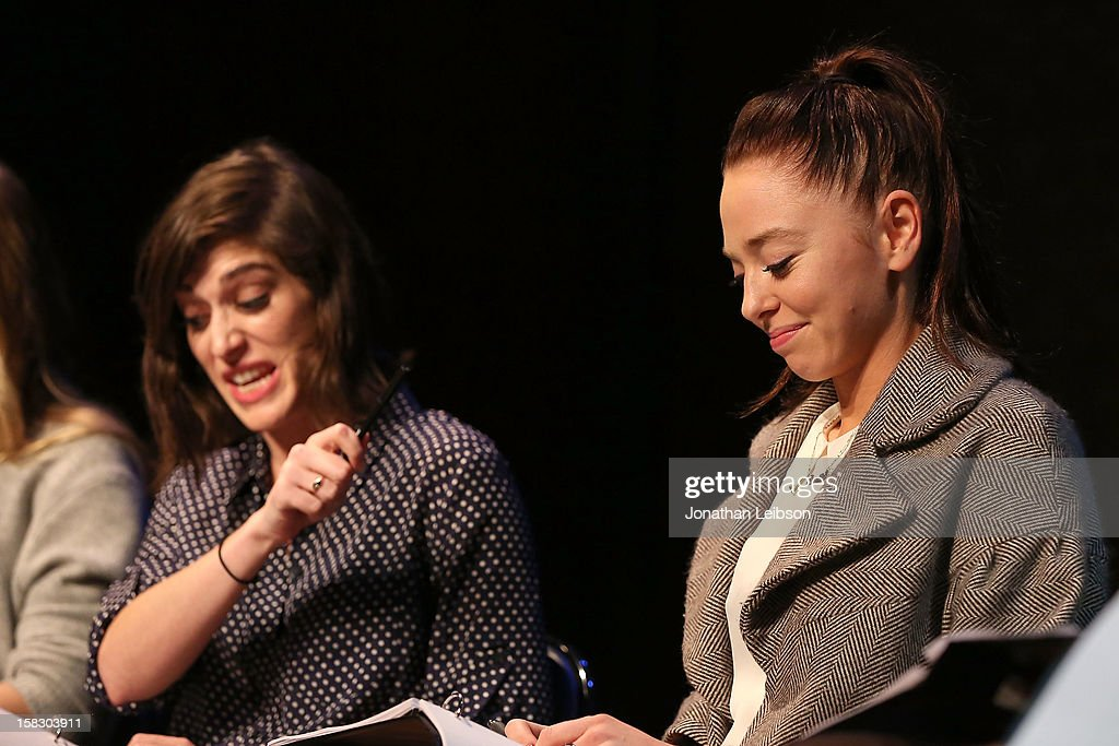 <a gi-track='captionPersonalityLinkClicked' href=/galleries/search?phrase=Lizzy+Caplan&family=editorial&specificpeople=599560 ng-click='$event.stopPropagation()'>Lizzy Caplan</a> and <a gi-track='captionPersonalityLinkClicked' href=/galleries/search?phrase=Portia+Doubleday&family=editorial&specificpeople=5850991 ng-click='$event.stopPropagation()'>Portia Doubleday</a> attend The Sundance Institute Feature Film Program Screenplay Reading Of 'Life Partners' by lab fellows Susana Fogel and Joni Lefkowitz at Actors' Gang at the Ivy Substation on December 12, 2012 in Culver City, California.