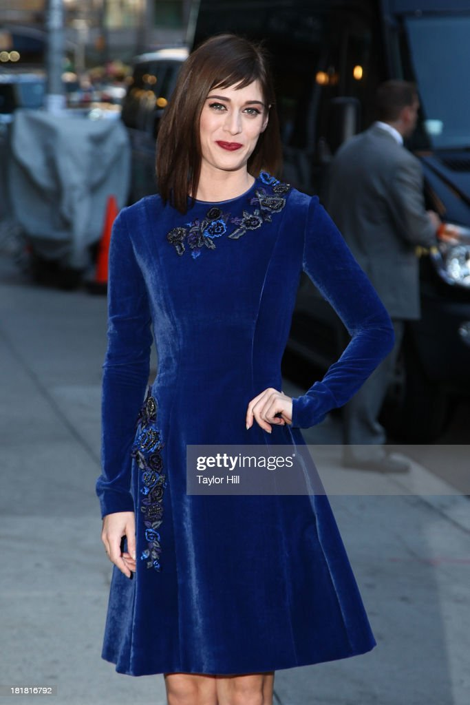 <a gi-track='captionPersonalityLinkClicked' href=/galleries/search?phrase=Lizzy+Caplan&family=editorial&specificpeople=599560 ng-click='$event.stopPropagation()'>Lizzy Caplan</a> arrives at 'Late Show with David Letterman' at Ed Sullivan Theater on September 24, 2013 in New York City.