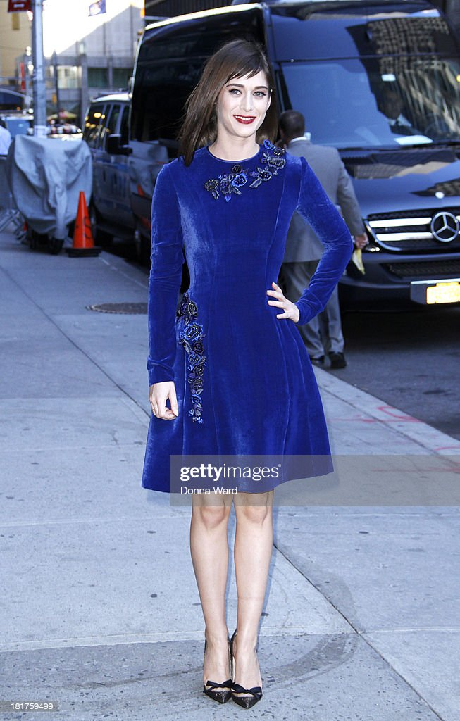 Lizzy Caplan arrives for the 'Late Show with David Letterman' at Ed Sullivan Theater on September 24, 2013 in New York City.