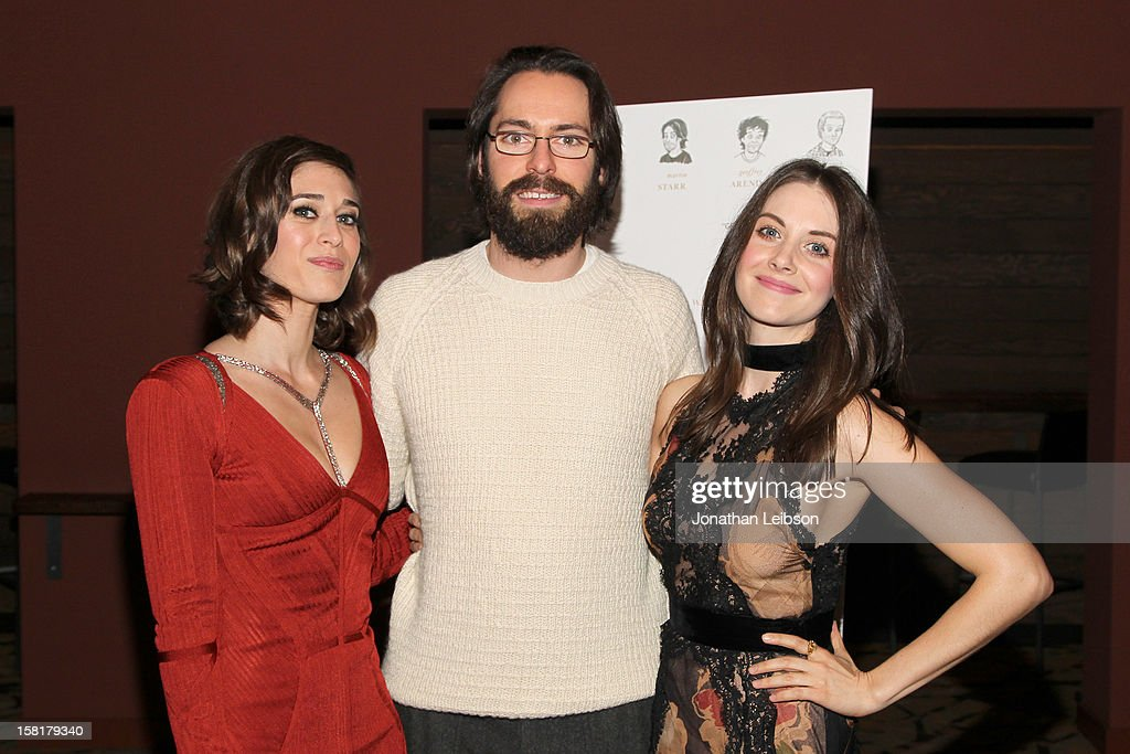 <a gi-track='captionPersonalityLinkClicked' href=/galleries/search?phrase=Lizzy+Caplan&family=editorial&specificpeople=599560 ng-click='$event.stopPropagation()'>Lizzy Caplan</a>, <a gi-track='captionPersonalityLinkClicked' href=/galleries/search?phrase=Martin+Starr&family=editorial&specificpeople=3733303 ng-click='$event.stopPropagation()'>Martin Starr</a> and <a gi-track='captionPersonalityLinkClicked' href=/galleries/search?phrase=Alison+Brie&family=editorial&specificpeople=5447578 ng-click='$event.stopPropagation()'>Alison Brie</a> attend the 'Save the Date' screening hosted by Genart and Brancott Estate Wines held at Sundance Cinema on December 10, 2012 in Los Angeles, California.