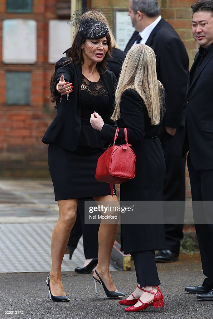 Lizzy Cundy arriving at the funeral of David Guest at Golders Green Crematorium on April 29, 2016 in London, England.