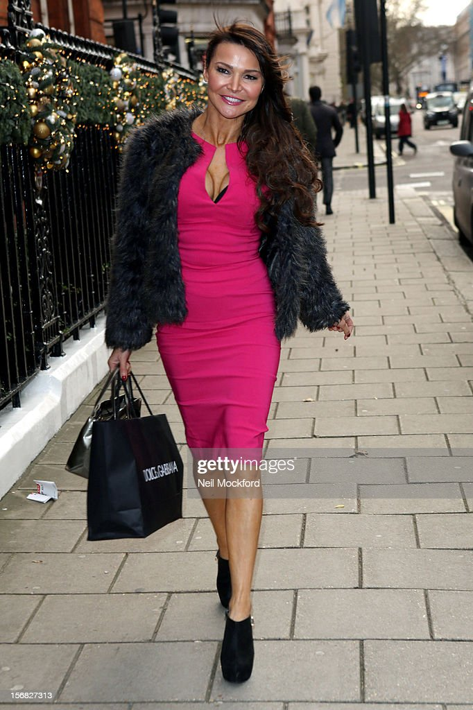 Lizzy Cundy seen arriving at Claridges Hotel for The AVON and Women's Aid Empowering Women Awards on November 22, 2012 in London, England.
