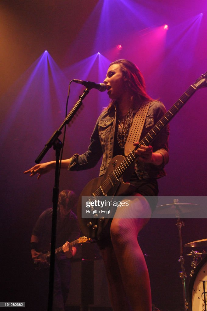 Lizzy Hale of Halestorm perform on stage at The Roundhouse on March 17, 2013 in London, England.