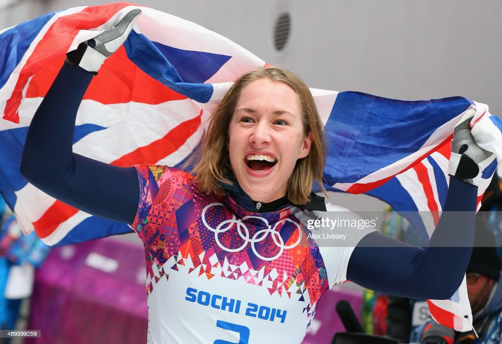 <a gi-track='captionPersonalityLinkClicked' href=/galleries/search?phrase=Lizzy+Yarnold&family=editorial&specificpeople=9514411 ng-click='$event.stopPropagation()'>Lizzy Yarnold</a> of Great Britain celebrates winning the gold medal during the Women's Skeleton on Day 7 of the Sochi 2014 Winter Olympics at Sliding Center Sanki on February 14, 2014 in Sochi, Russia.