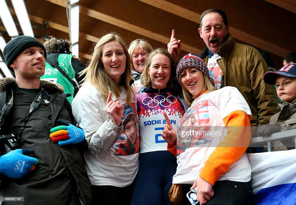 <a gi-track='captionPersonalityLinkClicked' href=/galleries/search?phrase=Lizzy+Yarnold&family=editorial&specificpeople=9514411 ng-click='$event.stopPropagation()'>Lizzy Yarnold</a> (C) of Great Britain celebrates winning the gold medal with her family sister Katie (3R), father Clive (2R), sister Charlotte (2L) and mother Judith (3L) during the Women's Skeleton on Day 7 of the Sochi 2014 Winter Olympics at Sliding Center Sanki on February 14, 2014 in Sochi, Russia.