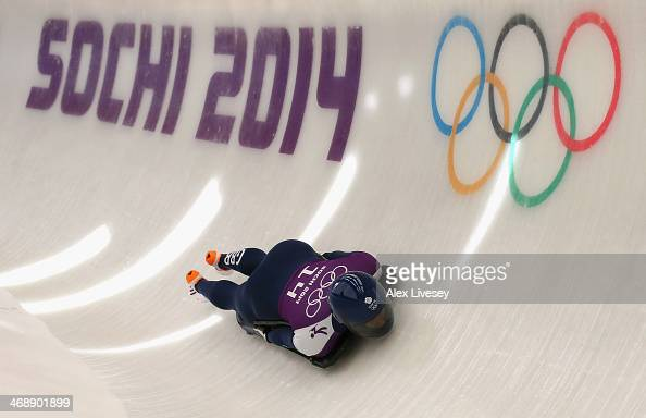 Lizzy Yarnold of Great Britain in action during a training session on Day 5 of the Sochi 2014 Winter Olympics at the Sanki Sliding Center on February...