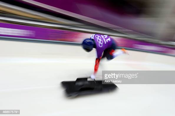 Lizzy Yarnold of Great Britain makes a run during a Women's Skeleton training session on Day 4 of the Sochi 2014 Winter Olympics at the Sanki Sliding...