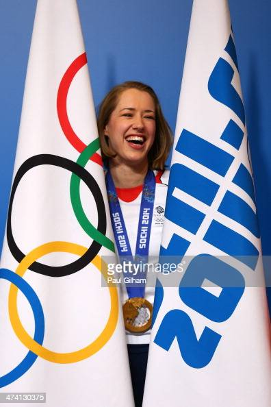 Lizzy Yarnold of Great Britain poses for photographers following the announcement that she will be the Great Britain flag bearer for the closing...