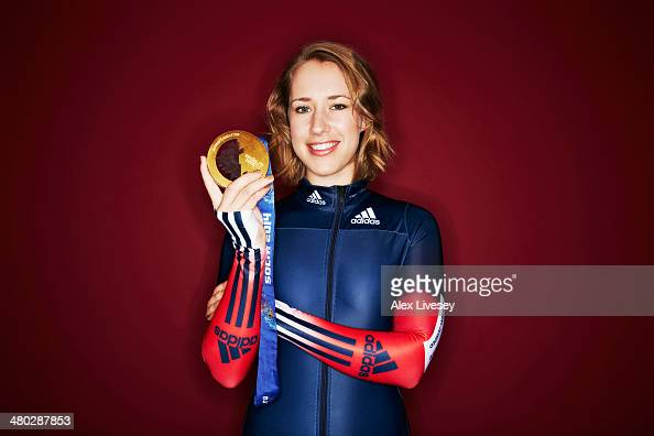 Lizzy Yarnold of Great Britain poses with her gold medal from the Sochi 2014 Winter Olympics during a portrait session on March 06 2014 in London...