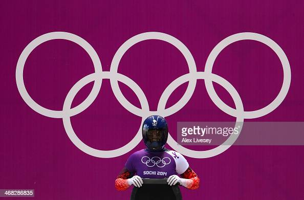 Lizzy Yarnold of Great Britain prepares to make a run during a Women's Skeleton training session on Day 3 of the Sochi 2014 Winter Olympics at the...