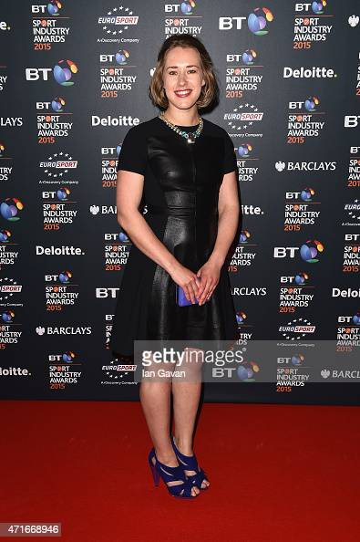 Lizzy Yarnold poses on the red carpet at the BT Sport Industry Awards 2015 at Battersea Evolution on April 30 2015 in London England The BT Sport...