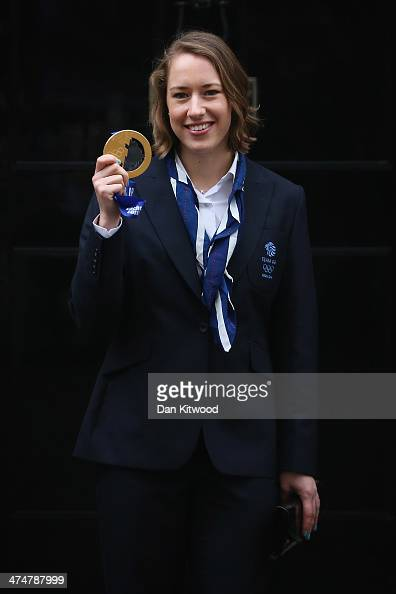 Lizzy Yarnold poses with her Gold medal on the steps of 10 Downing Street on February 25 2014 in London England The Winter Olympic medal winners...