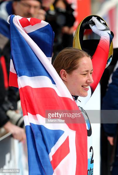 LizzyYarnold of Great Britain celebrates after winning the wrold championships after her fourth run of the women's skeleton competition during the...